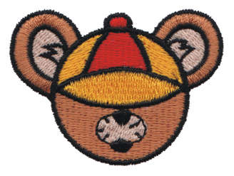 "Embroidery Design: Bear Head wearing a Hat2.24"" x 1.69"""