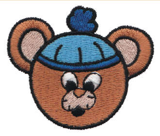 """Embroidery Design: Bear Head in Stocking Cap2.26"""" x 1.91"""""""