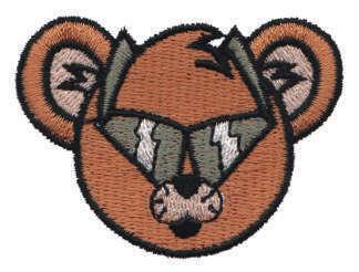 "Embroidery Design: Bear Head Wearing Sunglasses2.21"" x 1.65"""