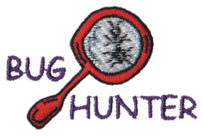 "Embroidery Design: Bug Hunter3.01"" x 1.93"""