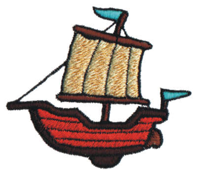 "Embroidery Design: Sailing Ship2.99"" x 2.65"""