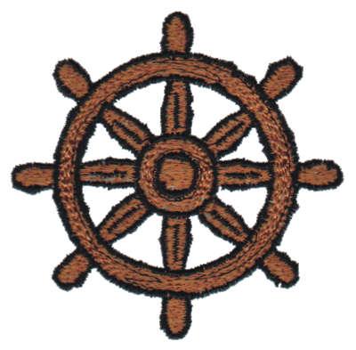 "Embroidery Design: Ship Wheel2.99"" x 2.94"""