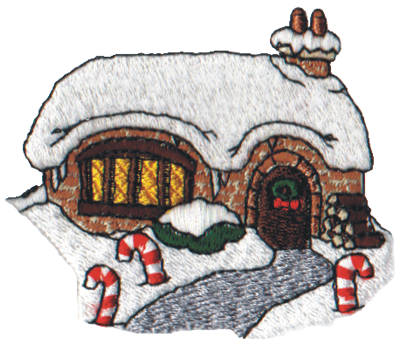 "Embroidery Design: Snow Globe Cottage3.06"" x 2.55"""