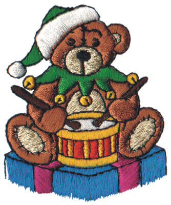 "Embroidery Design: Snow Globe Drummer Bear2.25"" x 2.78"""