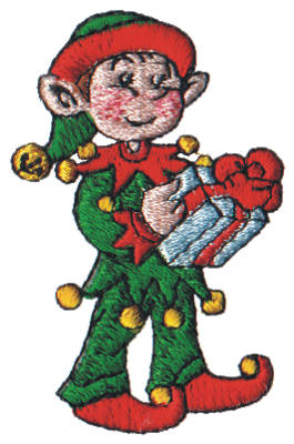"Embroidery Design: Snow Globe Elf1.65"" x 2.57"""