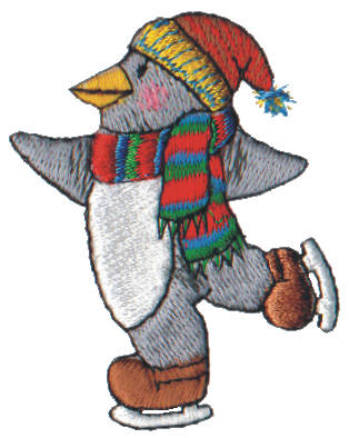"Embroidery Design: Snow Globe Skating Penguin1.99"" x 2.53"""
