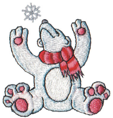 "Embroidery Design: Snow Globe Polar Bear2.50"" x 2.63"""