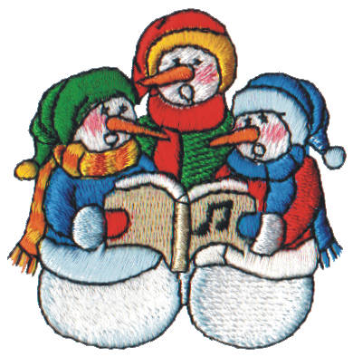 "Embroidery Design: Snow Globe Snowmen Carolers2.55"" x 2.54"""