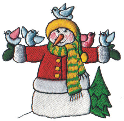 "Embroidery Design: Snow Globe Snowman with Birds2.65"" x 2.60"""