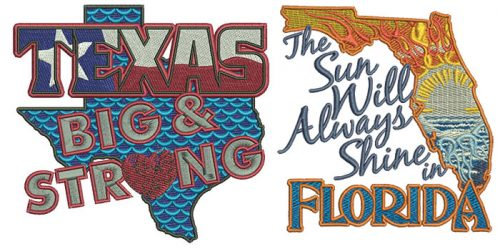 Embroidery Design: Help Texas and Florida 3 sizes