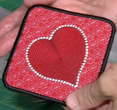 Embroidery Design: Heart Mug Rug Project5.16w x 5.21h