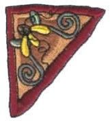 "Embroidery Design: Flower Corner Triangle1.97"" x 2.20"""