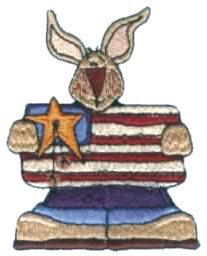 """Embroidery Design: Patriotic Bunny2.57"""" x 3.28"""""""