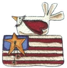 "Embroidery Design: Bird & Flag2.91"" x 3.02"""