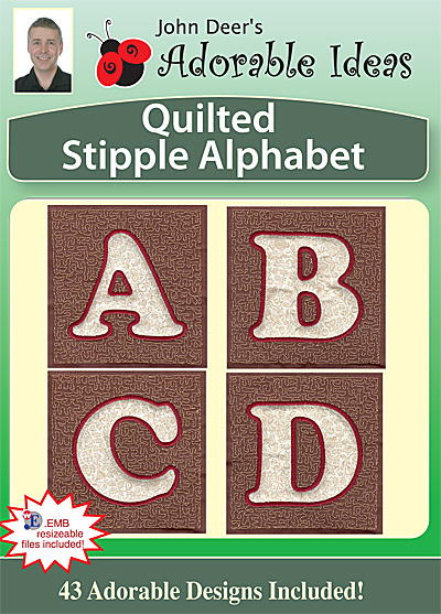 Embroidery Design: Quilted Stipple Alphabet