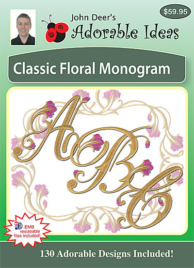 Embroidery Design: Classic Floral Monogram
