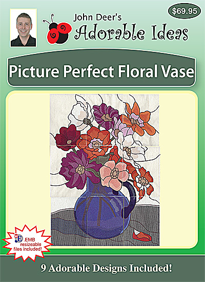 Embroidery Design: Picture Perfect Floral Vase