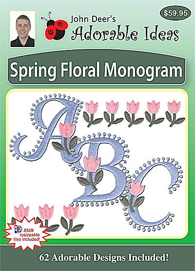 Embroidery Design: Spring Floral Monogram