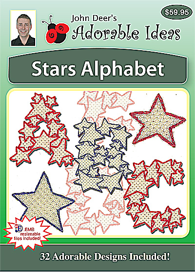 Embroidery Design: Stars Alphabet