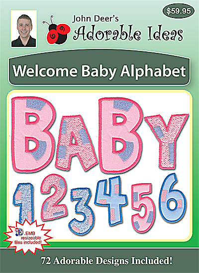 Embroidery Design: Welcome Baby Alphabet