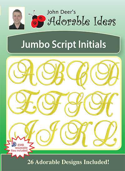 Embroidery Design: Jumbo Script Initials