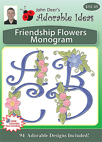 Embroidery Design: Friendship Flowers Monogram