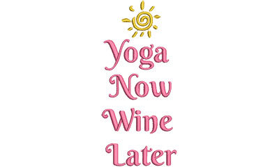 Embroidery Design: yoga now wine later 2.93w X 6.51h