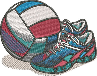 volleyball comic equipment embroidery design