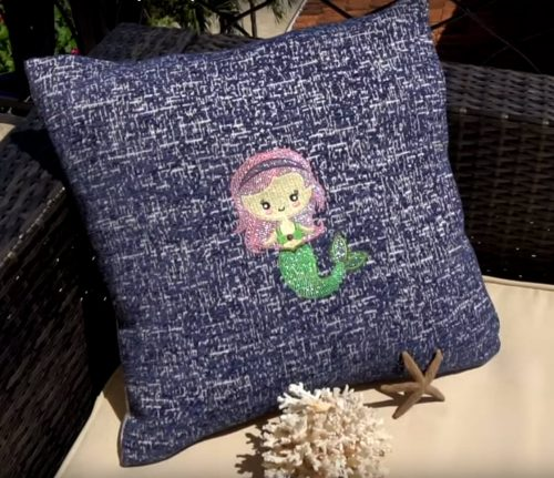Mermaid embroidery pillow design