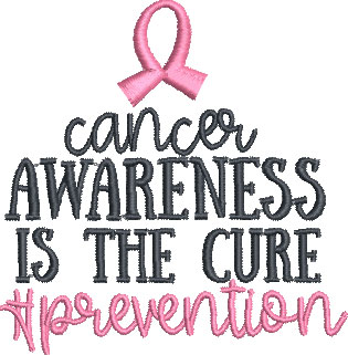 cancer awareness saying embroidery design