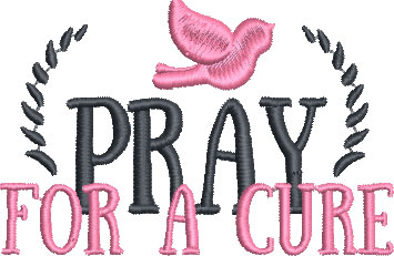 pray for a cure embroidery design