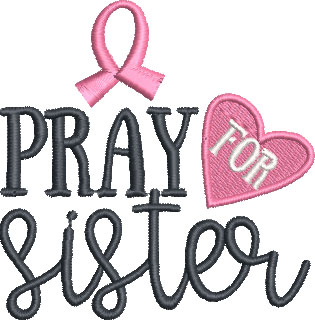 pray for sister embroidery design
