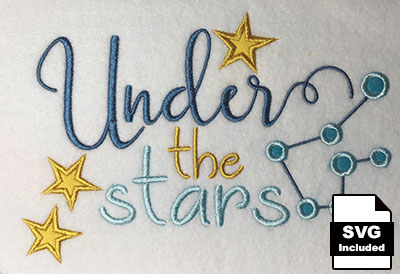 under the stars embroidery designs