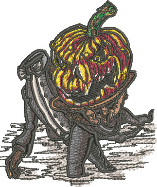 headless waiter pumpkin embroidery design