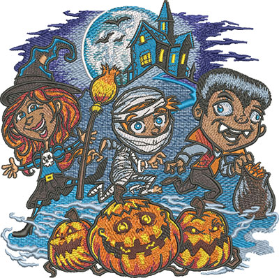 trick or treaters embroidery design