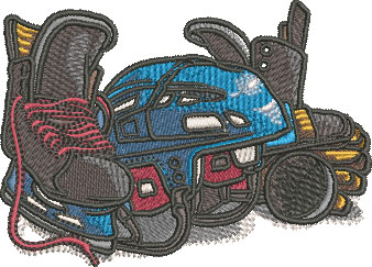 hockey equipment embroidery design