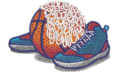 basketball equipment embroidery design