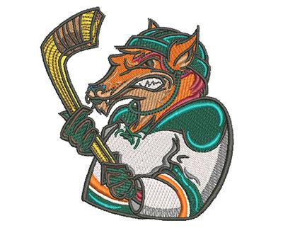 fox hockey mascot embroidery design