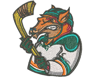 fox hockey mascot embroidery design