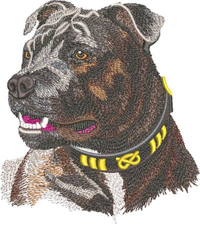 staffordshier bull terrier embroidery design