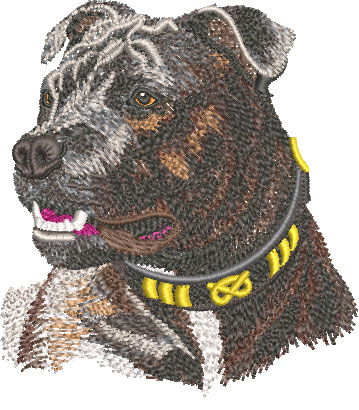 staffordshire bull terrier embroidery design