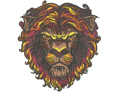 lion head mascot embroidery design