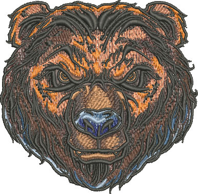 bear head mascot embroidery design