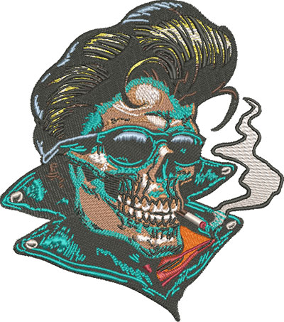 rockabilly skull embroidery design
