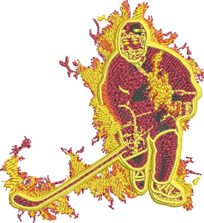 fire hockey embroidery design