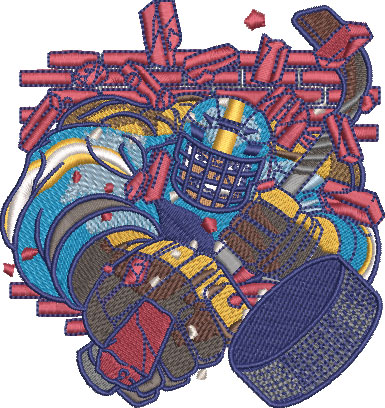 hulking hockey embroidery design