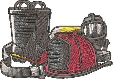 firefighter equipment embroidry design