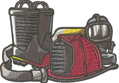 firefighter equipment embroidery design