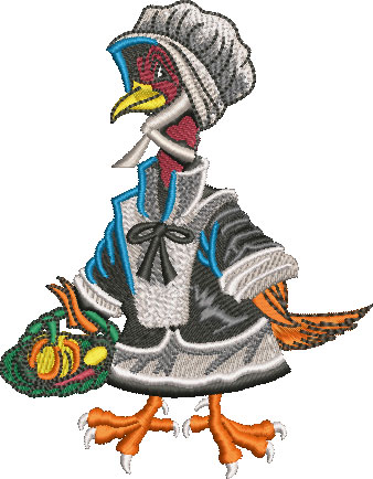 female pilgrim turkey embroidery design