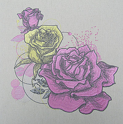 Retro Rose embroidery design